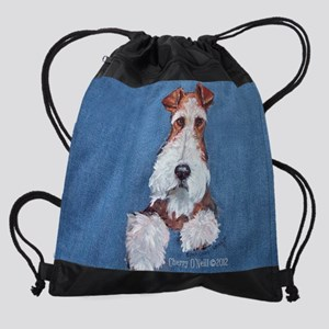 Wire Fox Terrier Portrait Drawstring Bag