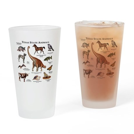 Texas State Animals Drinking Glass