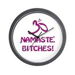 Namaste Bitches - Purple Glitter Effect Wall Clock