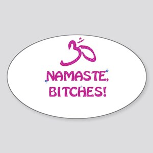Namaste Bitches- Pink Glitter Effect Sticker