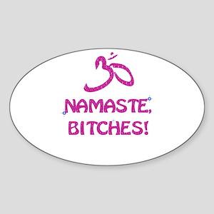 Namaste Bitches- Pink Glitter Effect Sticker