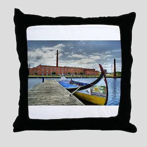 Moliceiro boat in Aveiro, Portugal Throw Pillow
