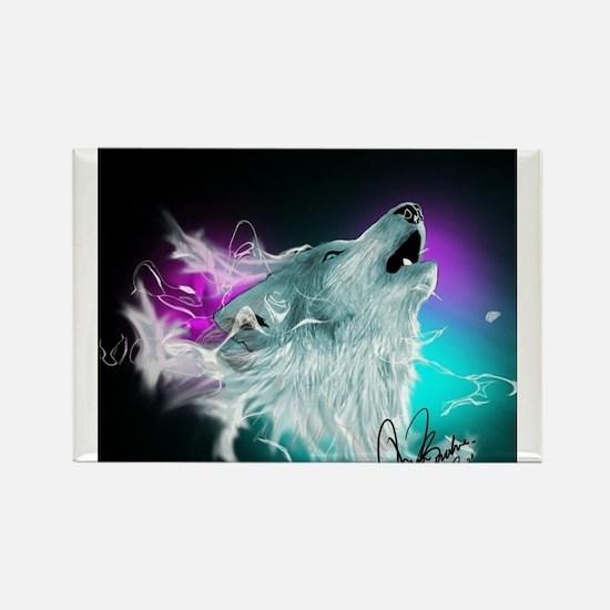 Northern Lights Wolf Spirit Rectangle Magnet