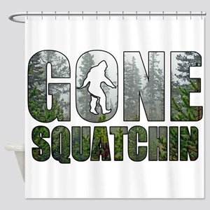 Gone Squatchin deep woods Shower Curtain