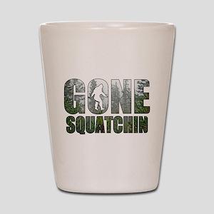 Gone Squatchin deep woods Shot Glass