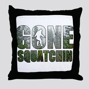 Gone Squatchin deep woods Throw Pillow