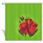 Vintage Red Hibiscus Shower Curtain