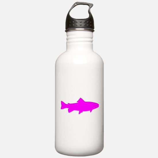 Pink Trout Outline Water Bottle