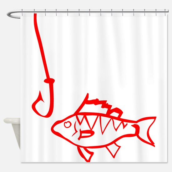 Red Fish And Hook Shower Curtain