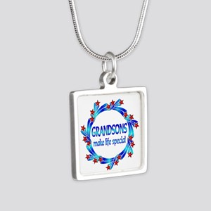 Grandsons are Special Silver Square Necklace