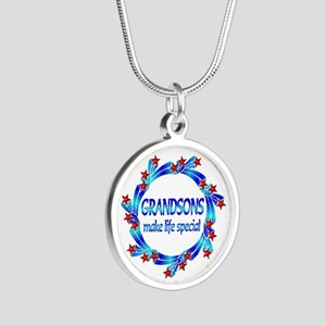 Grandsons are Special Silver Round Necklace