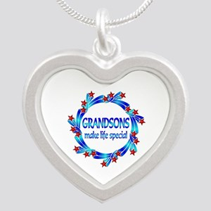 Grandsons are Special Silver Heart Necklace