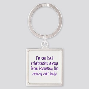 Crazy Cat Lady Square Keychain