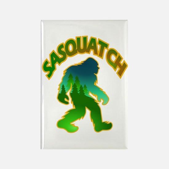 Sasquatch Forest Scene Rectangle Magnet