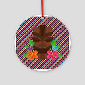 Tiki Mask on Stripes Ornament (Round)