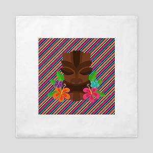 Tiki Mask on Stripes Queen Duvet
