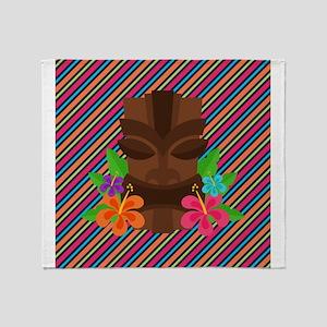Tiki Mask on Stripes Throw Blanket