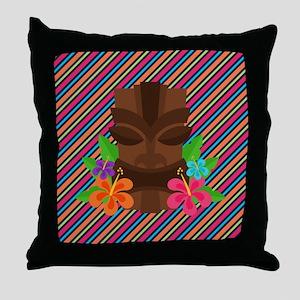 Tiki Mask on Stripes Throw Pillow