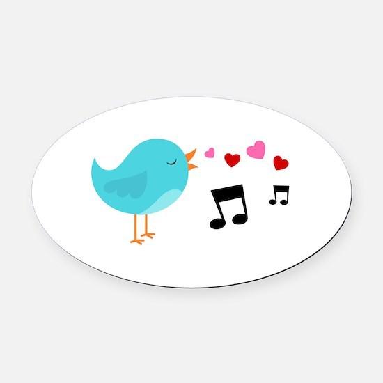 Singing Blue Bird Oval Car Magnet