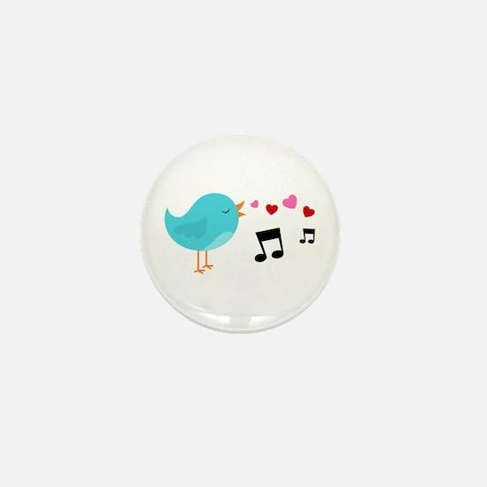 Singing Blue Bird Mini Button