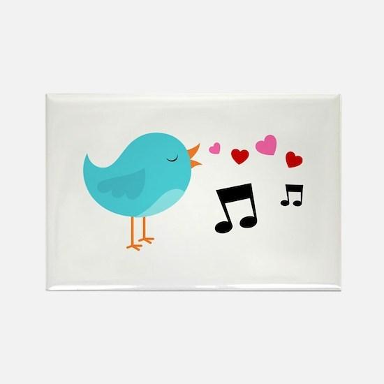 Singing Blue Bird Rectangle Magnet