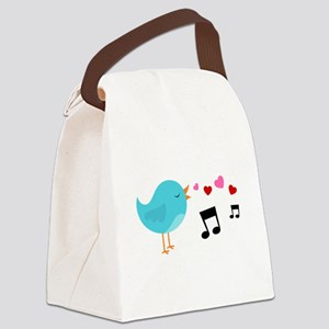 Singing Blue Bird Canvas Lunch Bag