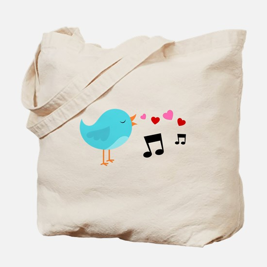 Singing Blue Bird Tote Bag