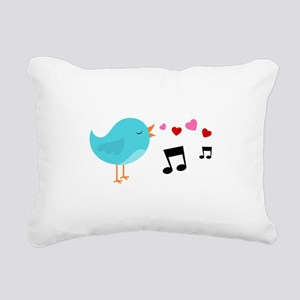 Singing Blue Bird Rectangular Canvas Pillow