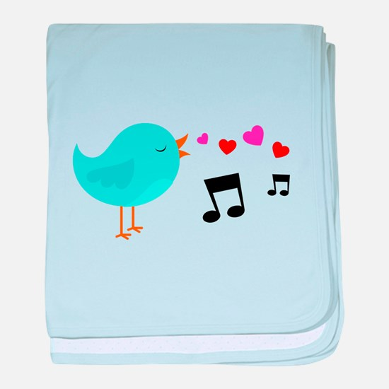 Singing Blue Bird baby blanket