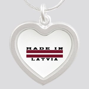 Latvia Made In Silver Heart Necklace