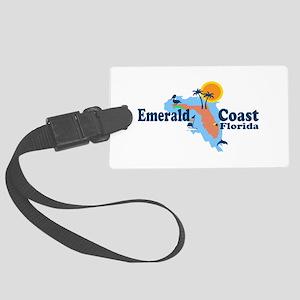 Emerald Coast - Surf Design. Large Luggage Tag