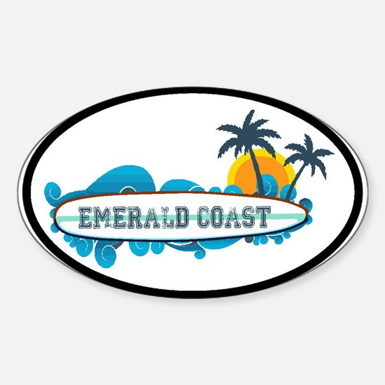 Emerald Coast - Surf Design. Sticker (Oval)