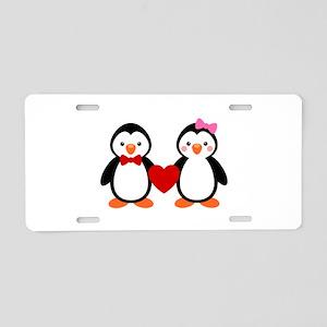 Cute Penguin Couple Aluminum License Plate