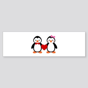 Cute Penguin Couple Bumper Sticker