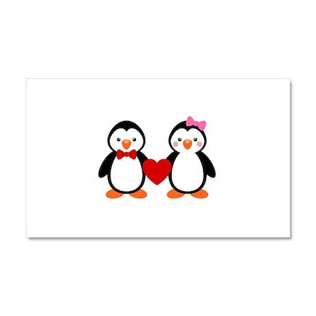 Cute Penguin Couple Car Magnet 20 x 12