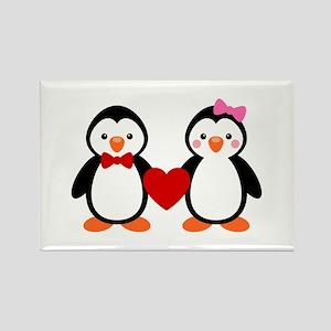 Cute Penguin Couple Rectangle Magnet