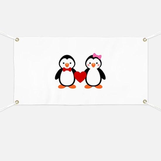 Cute Penguin Couple Banner