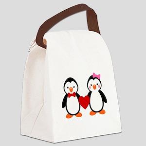 Cute Penguin Couple Canvas Lunch Bag