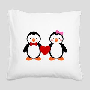 Cute Penguin Couple Square Canvas Pillow