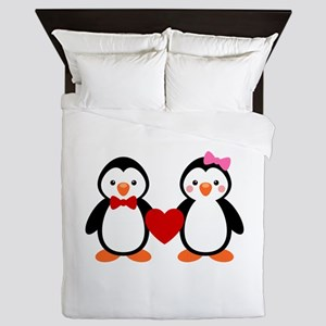Cute Penguin Couple Queen Duvet