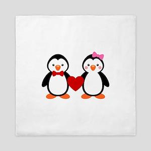 Cute Penguin Couple Queen Duvet