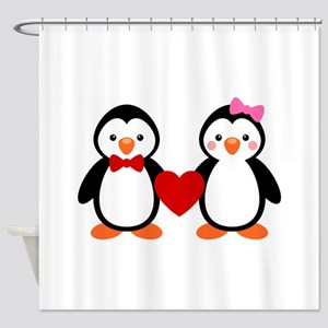 Cute Penguin Couple Shower Curtain