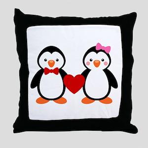 Cute Penguin Couple Throw Pillow