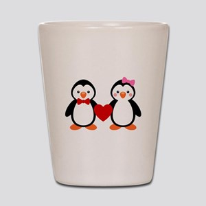 Cute Penguin Couple Shot Glass