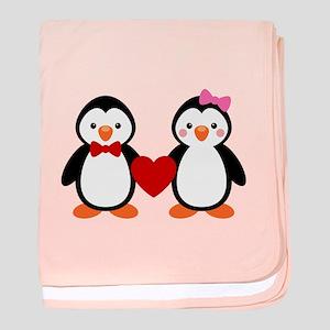 Cute Penguin Couple baby blanket