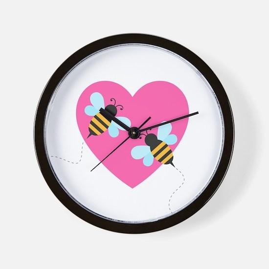 Cute Honey Bees Wall Clock