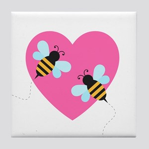 Cute Honey Bees Tile Coaster