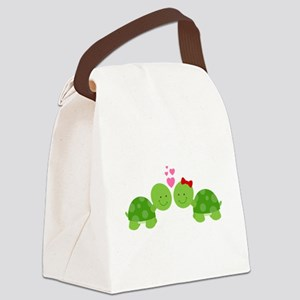 Turtles in Love Canvas Lunch Bag