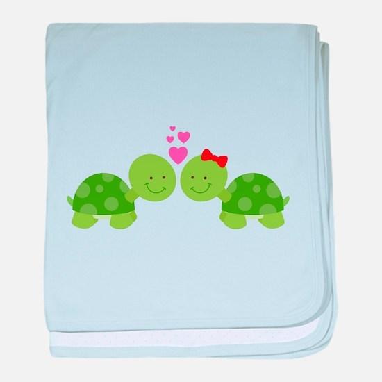 Turtles in Love baby blanket