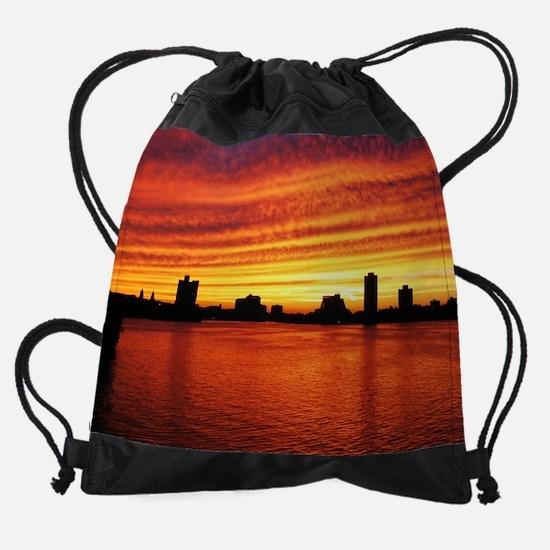bu sunset sp.jpg Drawstring Bag